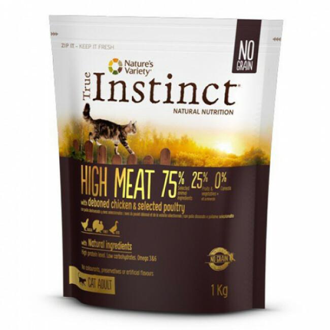 Croquettes True Instinct Adult High Meat pour chat Sac 7 kg