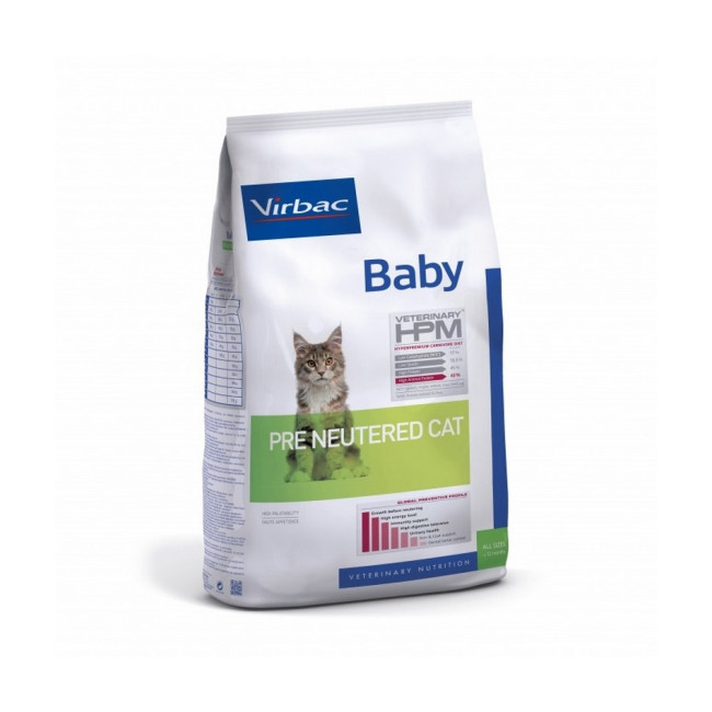 Croquettes Virbac HPM Baby Pre Neutered pour chat