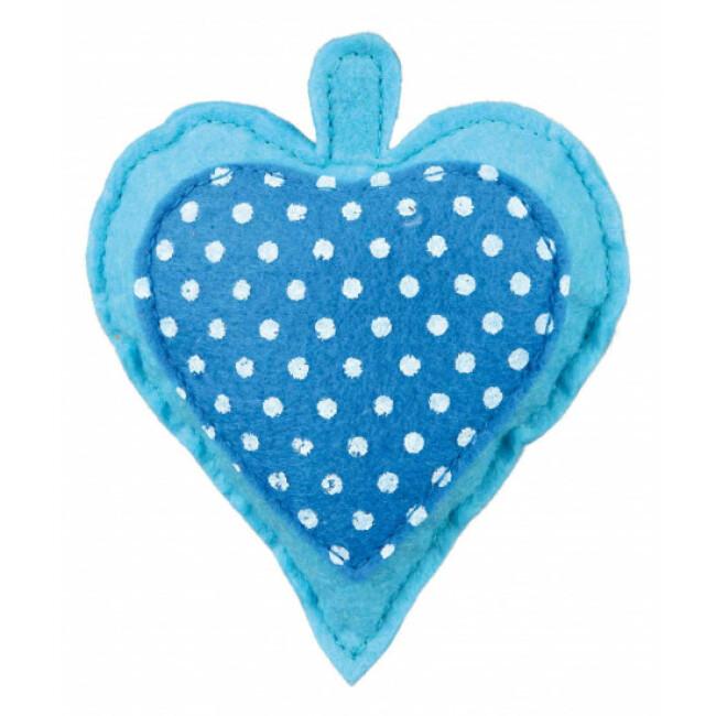 Cœur en tissu à la valériane avec clochette pour chat