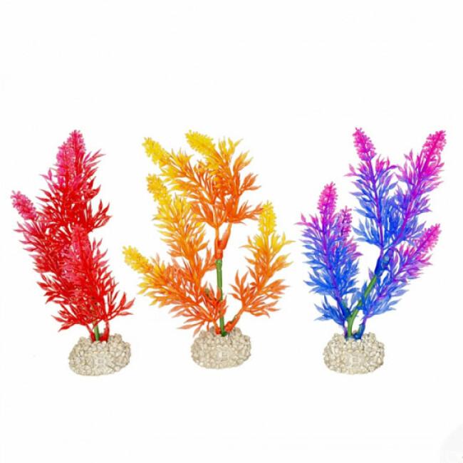 Décoration pour aquarium plante haute rouge/jaune/mauve en plastique