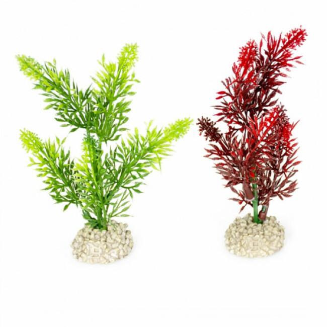 Décoration pour aquarium plante haute rouge/vert en plastique