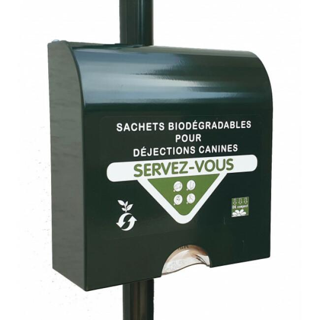 Distributeur sachets en papier biodégradables pour déjections canines Liasse Papier