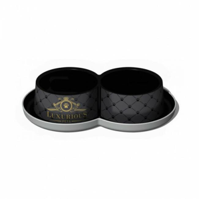 Double gamelle pour chien et chat Luxurious sérigraphiée noire Anka 2 x 350 ml