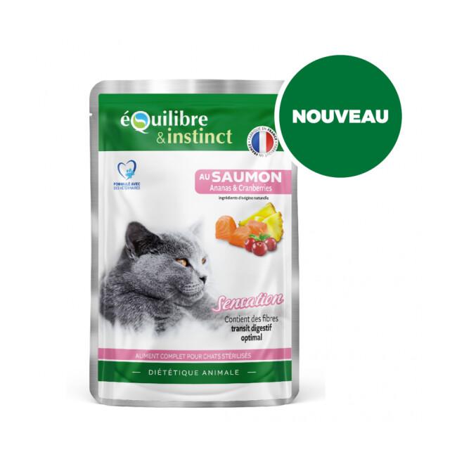 """Effilés """"Sensation"""" au saumon Equilibre et Instinct pour chat stérilisé"""