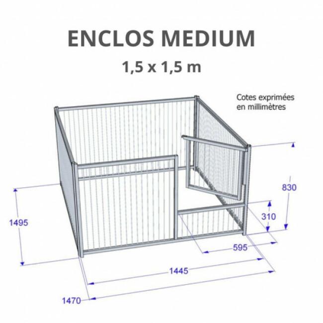 Enclos pour chiot à barreaux avec porte