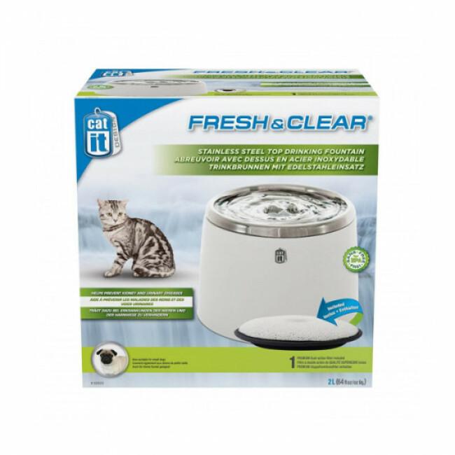 Fontaine à eau compacte pour chat et chien de petite taille Cat'it acier inoxydable 2 litres