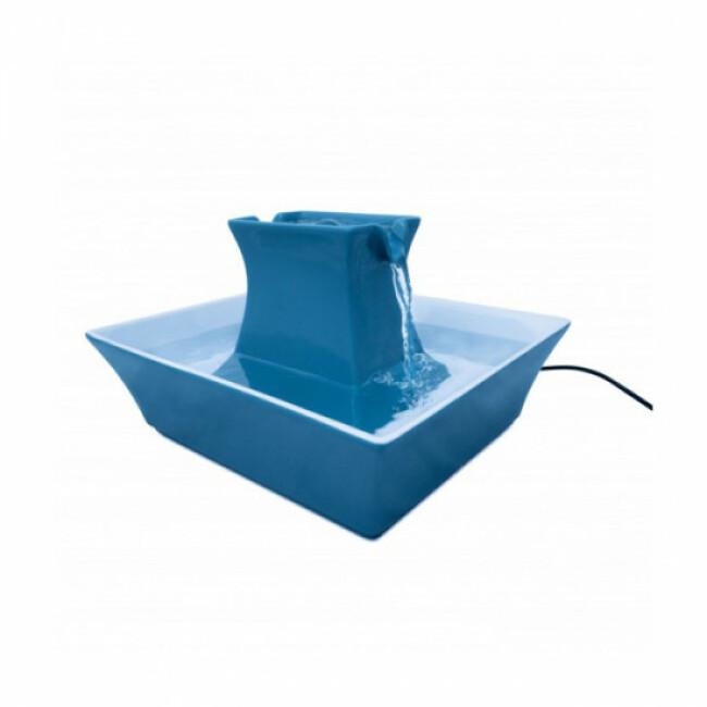 Fontaine à eau pour chien et chat Drinkwell PAGODA Petsafe bleue en céramique 2 litres