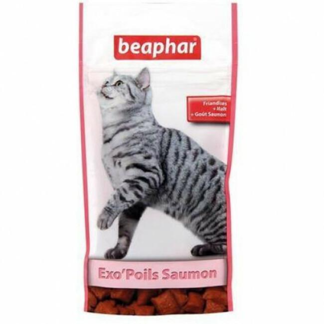 Friandises anti boules de poils au saumon Exo Poils Beaphar pour chat