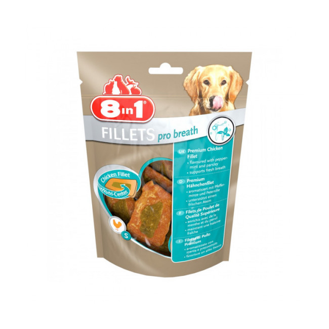 Friandises pour chien contre la mauvaise haleine Fillets Pro Breath 8 in 1 saveur poulet 80 g