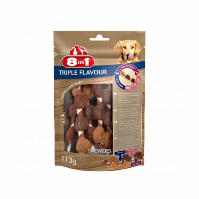 Friandises Triple Flavour 8in1 brochettes à mâcher pour chien