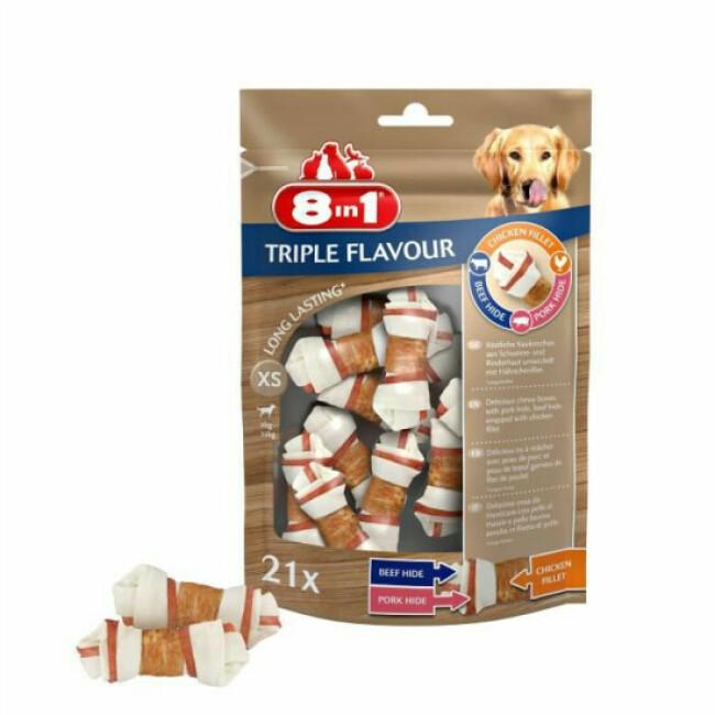 Friandises Triple Flavour 8in1 os à mâcher pour petit chien