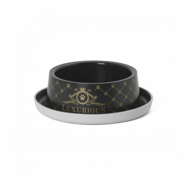 Gamelle simple sérigraphiée pour chien et chat Anka Luxurious noire 350 ml