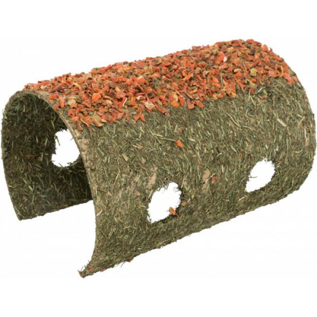 Grotte en fibres naturelles avec céréales et carottes pour rongeurs