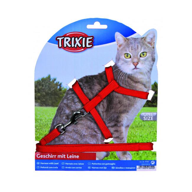 Harnais en nylon avec laisse et boucle métal pour chats