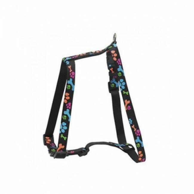 Harnais réglable en nylon avec motifs pattes pour chien Sellerie Chapuis noir