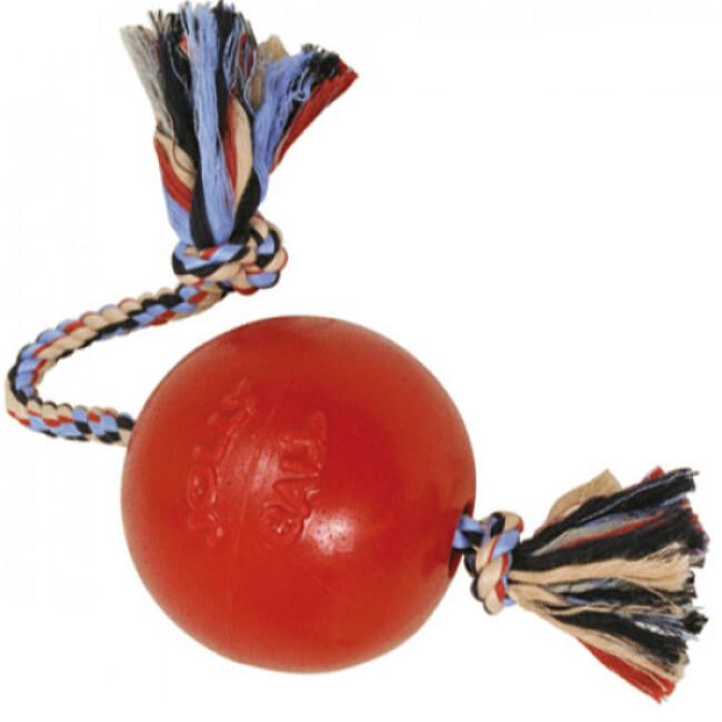 Jolly ball Romp-n-Roll en plastique et corde pour chien
