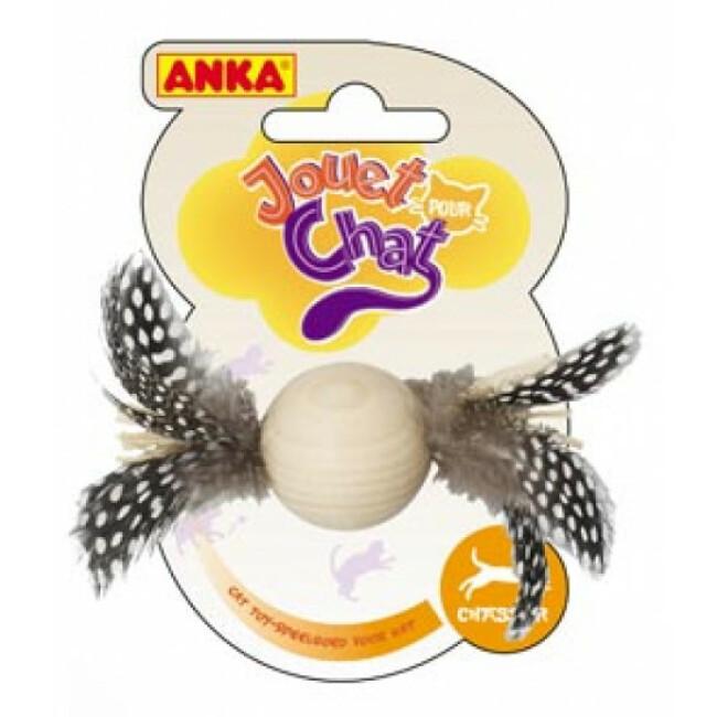 Jouet balle pour chat en bois avec plumes Anka