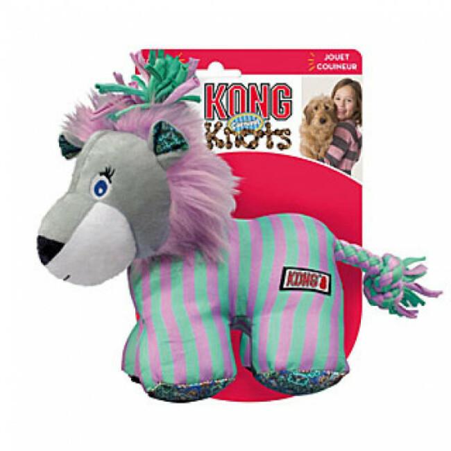 Jouet en peluche lion avec squeaker et corde pour chien KONG Knots