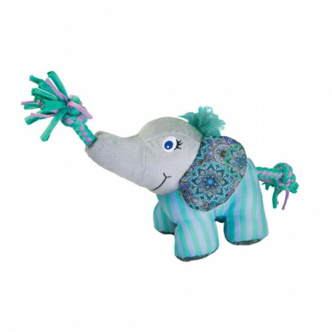 Jouet en peluche éléphant avec squeaker et corde pour chien KONG Knots