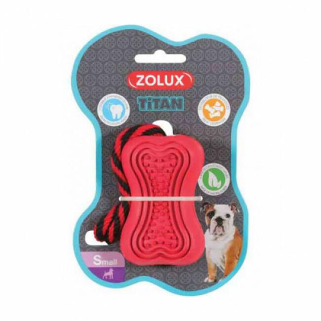 Jouet ultra résistant en caoutchouc avec corde pour chien Titan Zolux