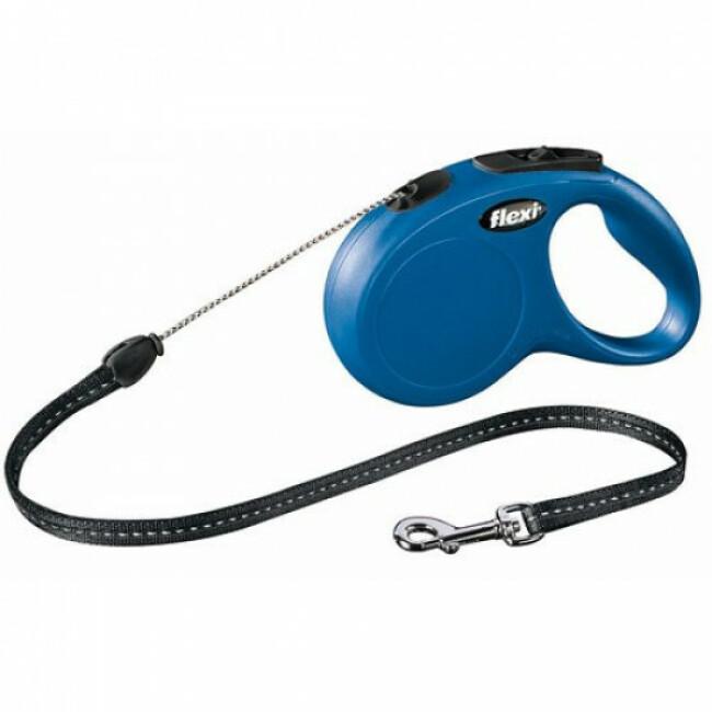 Laisse à enrouleur en corde New Classic Flexi bleu