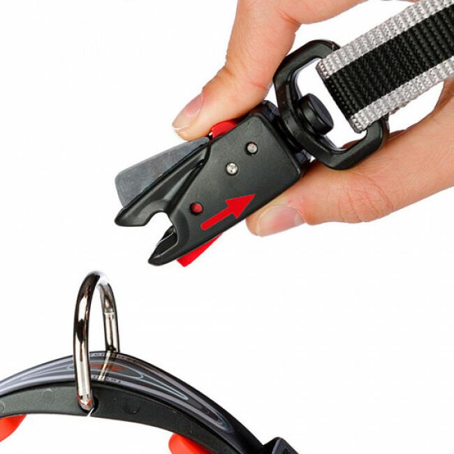 Laisse en nylon double épaisseur avec fermeture automatique Dual Matic