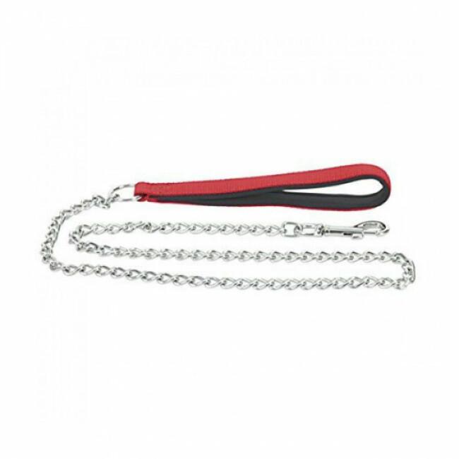Laisse pour chien chaîne en acier chromé avec poignée nylon Chapuis Sellerie rouge