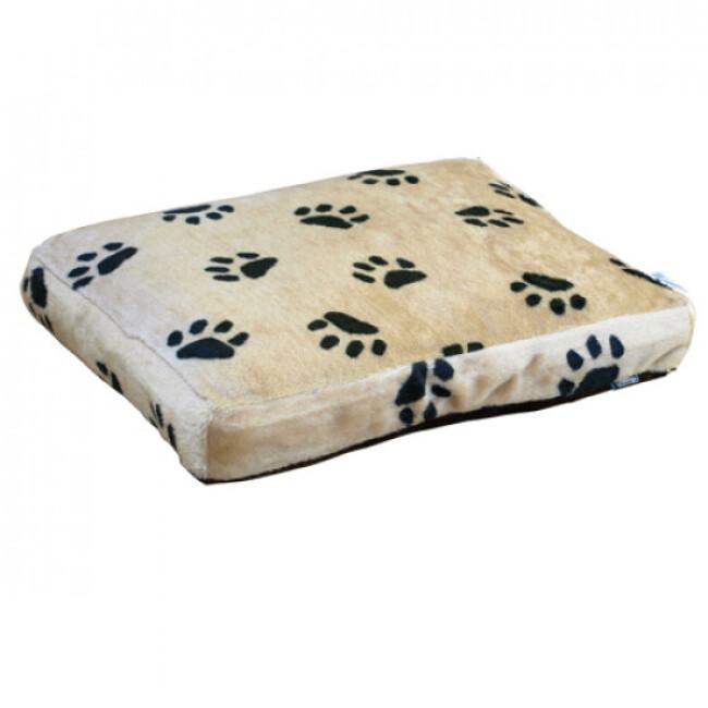 Coussin gonflant tissu fourrure beige T60 pour lit et canapé en osier