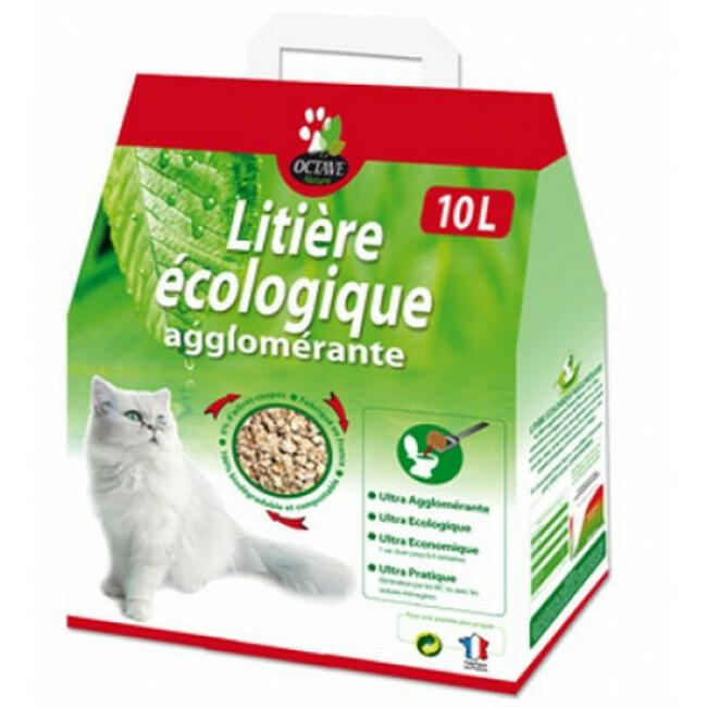 Litière pour chat écologique et agglomérante Octave Naturlys Sac 10 litres