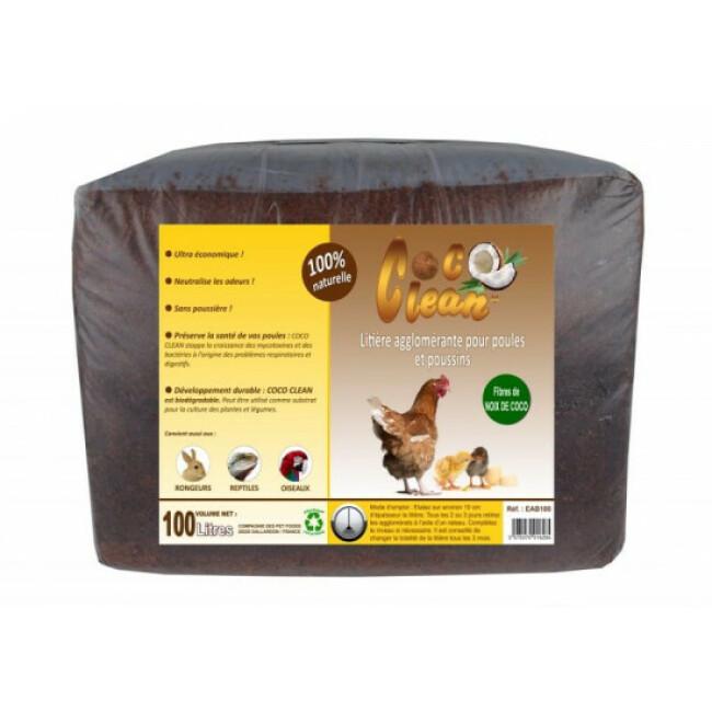 Litière fibre de coco agglomérante Coco Clean 100 litres pour poules, rongeurs et reptiles