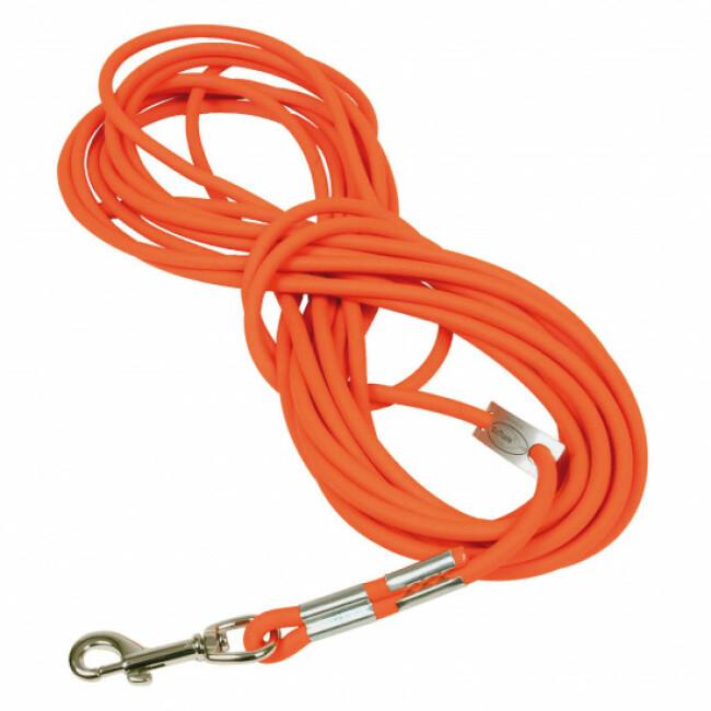 Longe ronde orange Fluo en Biothane pour chien