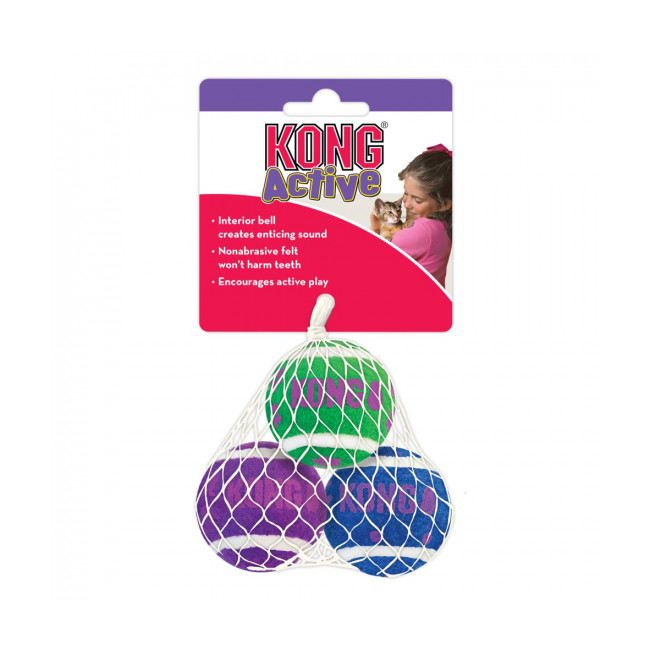 Lot de 3 balles avec clochettes pour chat KONG Active