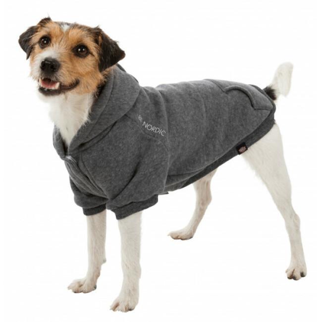 Manteau sweat à capuche pour chien Flensburg Trixie - Coloris Gris