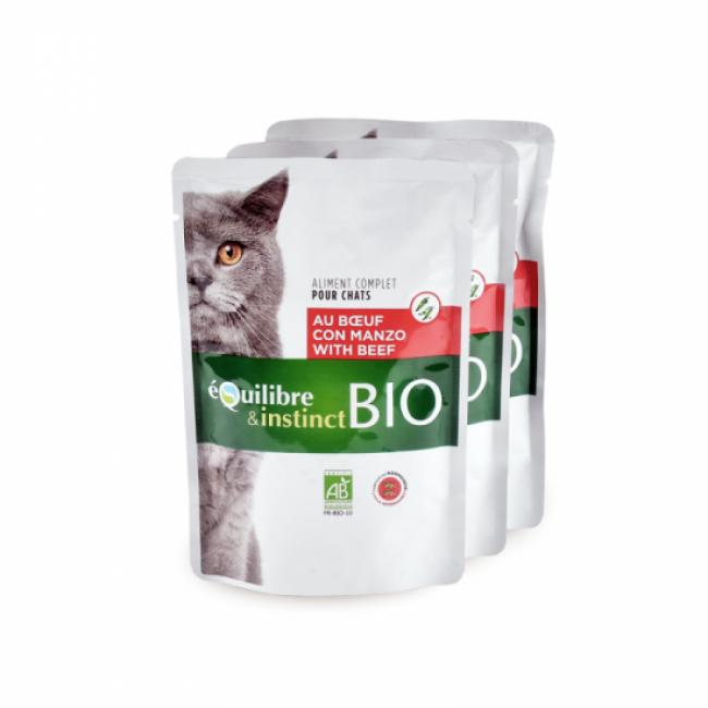 Mitonné bio pour chat adulte Equilibre et Instinct volaille 22 sachets de 100 g