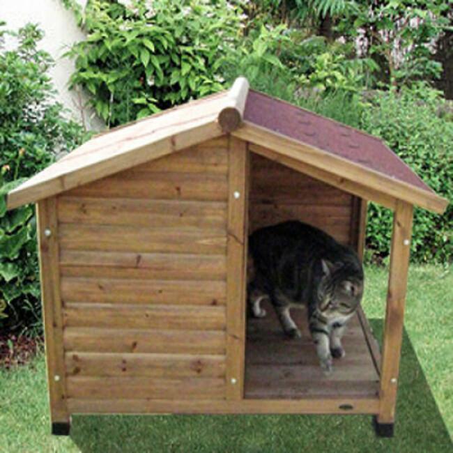 Niche bois avec auvent et terrasse pour chat