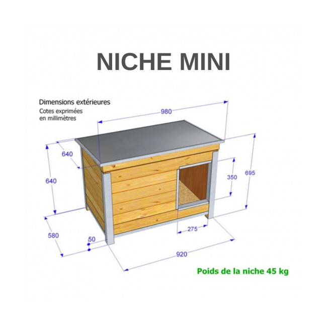 Niche isolée pour chien confort toit simple pan