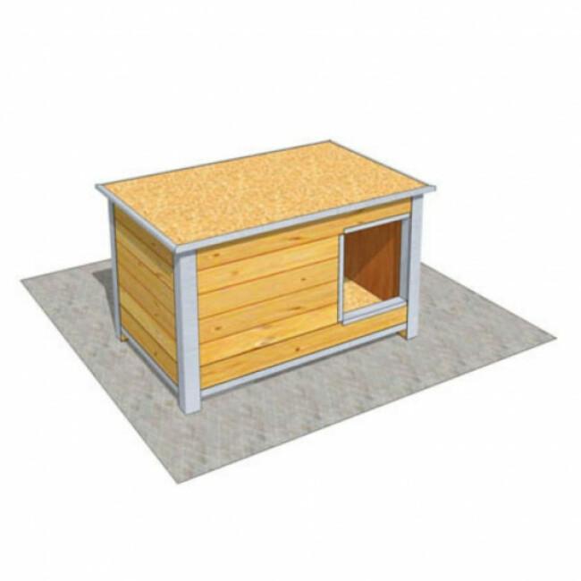 Niche en bois isolé avec toit plat pour chien