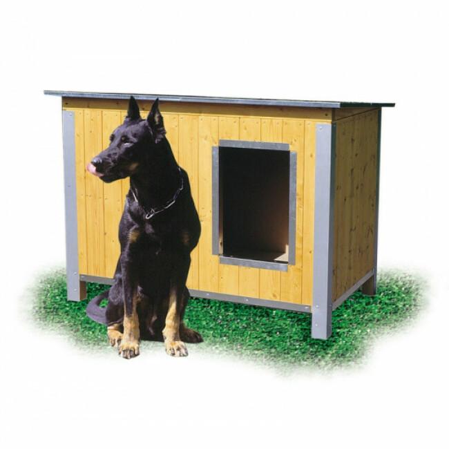 Niche isolée en bois pour chien avec toit simple pan incliné