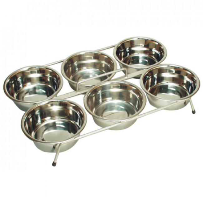 Nourrisseur inox  6 gamelles pour élevage chiots et chatons