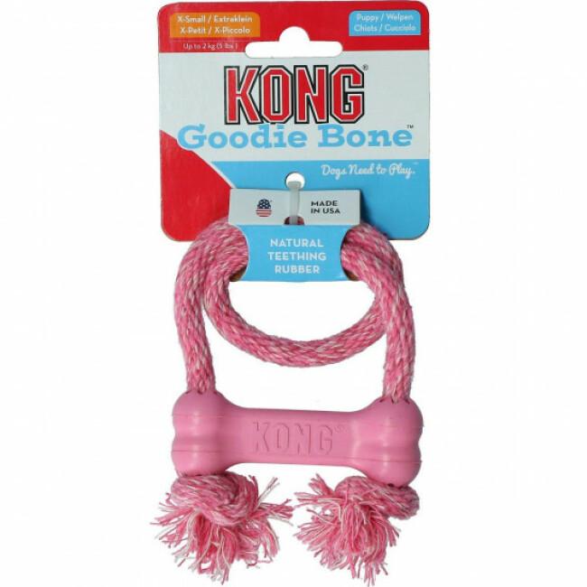 Os en caoutchouc avec corde pour chiot KONG Puppy Bone XS