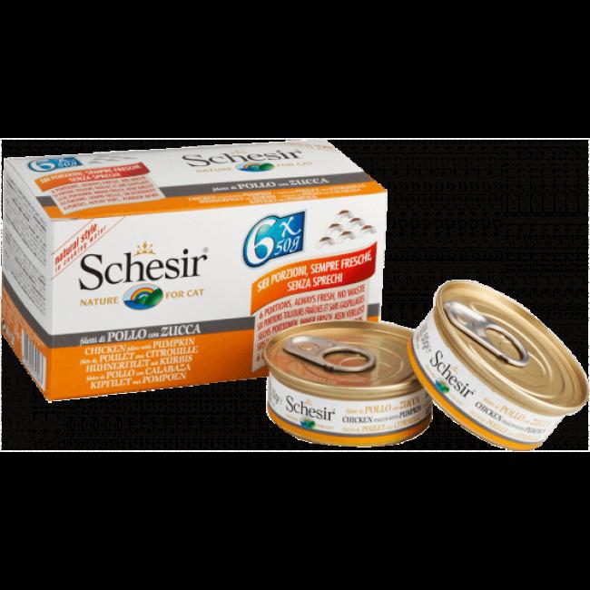 Pâtée pour chat Schesir avec bouillon - Lot de 6 boîtes x 50 g