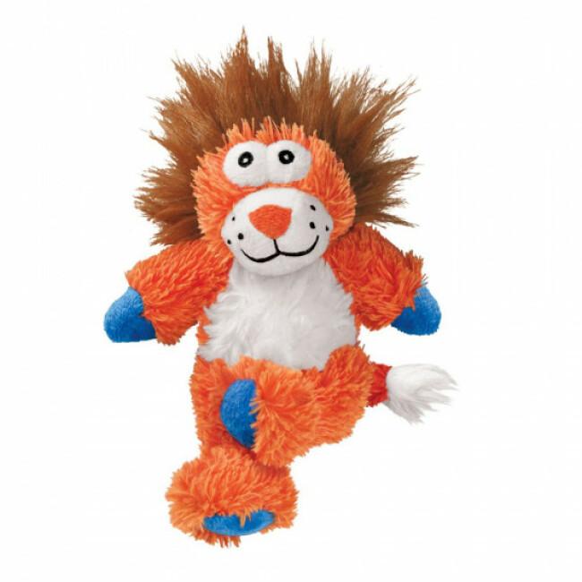 Peluche lion à couinement avec corde pour chien KONG Cross Knots