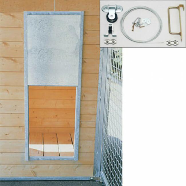 Porte guillotine pour niche chenil ou poulailler