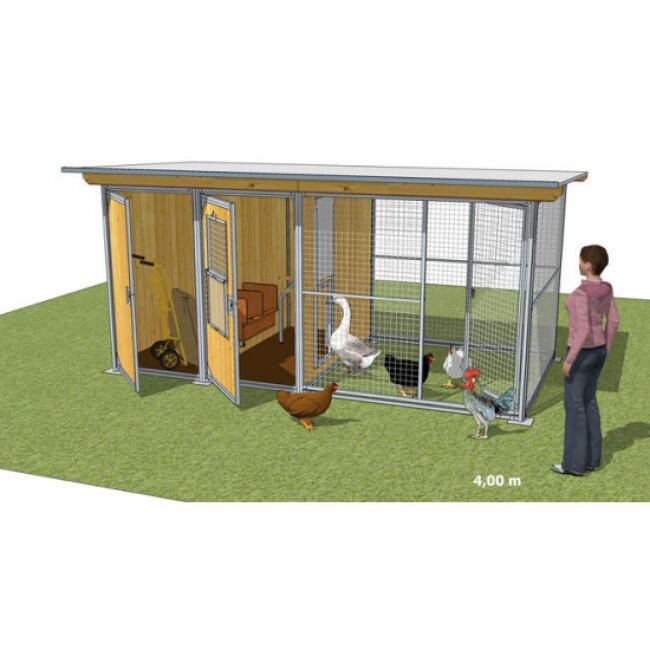 Poulailler durable en bois et métal avec 2 box