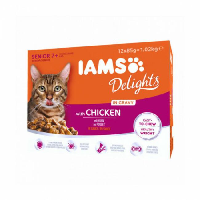 Pâtée en sauce IAMS au poulet pour chat Senior