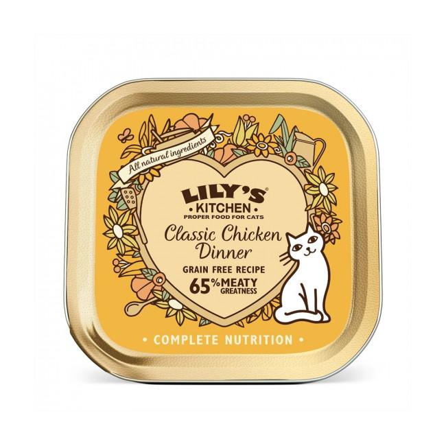 Pâtée sans céréales pour chat Délice de poulet Lily's Kitchen Barquette de 85 g