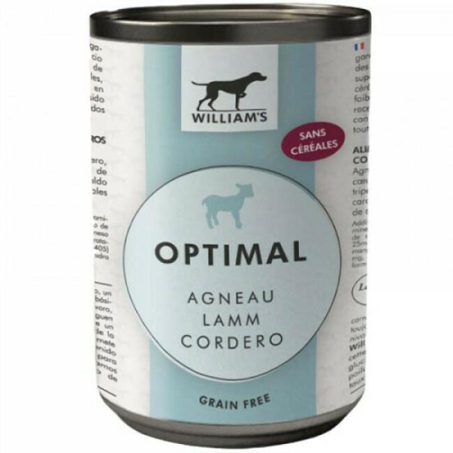 Pâtée William's Optimal sans céréales à l'agneau pour chien