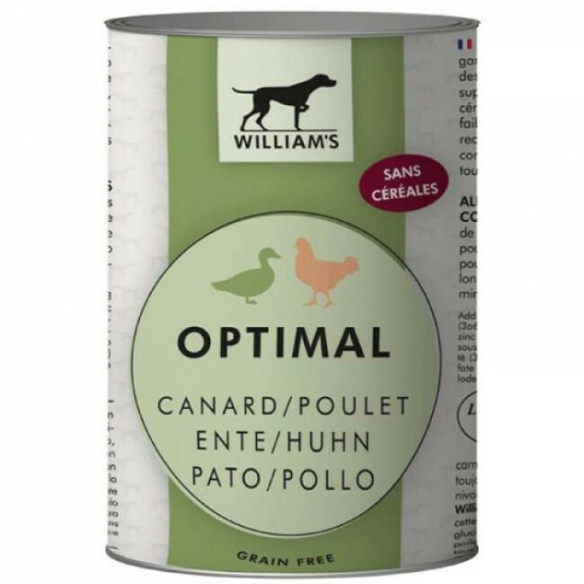 Pâtée William's Optimal sans céréales au canard et poulet pour chien