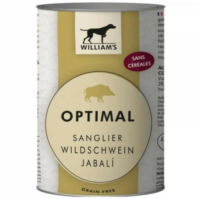 Pâtée William's Optimal sans céréales au sanglier pour chien