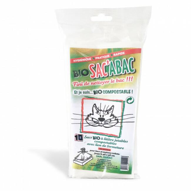 Sacs à litières jetables compostables avec lien de fermeture Bio Sac'Abac - lot de 10